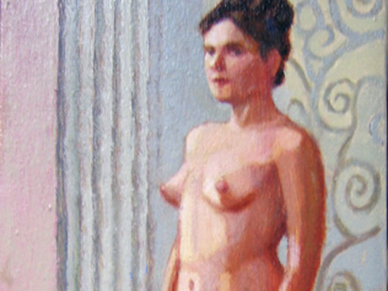 "Duncan Hannah, ""The Harem Girl,"" Oil on canvas, 12 x 6 inches, 2003"
