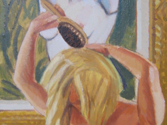"Duncan Hannah, ""Brushing Her Hair,"" Oil on canvas, 16 x 18 inches, 2005"