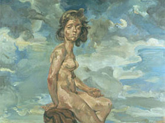 "Catherine Howe, ""The Spaniel,"" Oil on linen, 65 1/4 x 49 inches, 2000"