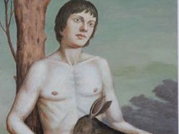 "Paul Green, ""Boy With Deer,"" Oil on canvas, 60 x 36 inches"