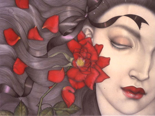 "Mel Odom, ""Falling Petals,"" Pencil, dyes, and gouache, 11 x 7 inches"