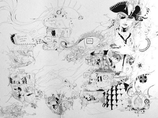 "June Kim, ""Jenny,"" ink on paper, 40 x 56 inches, 2005"