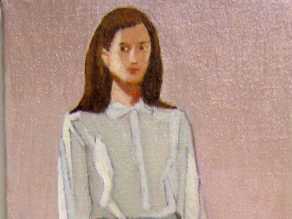 "Duncan Hannah, ""The Mournful Schoolgirl,"" Oil on canvas, 12 x 6 inches, 2004"