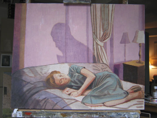 "Duncan Hannah, ""Nova Sleeping,"" Oil on canvas, 24 x 30 inches, 2005"