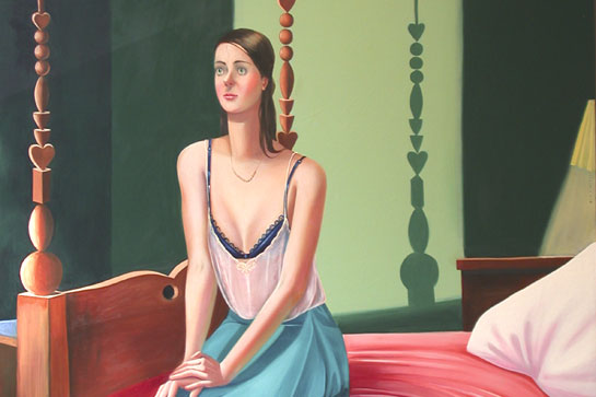 "Jocelyn Hobbie, ""Single Bed,"" Oil on canvas, 54 x 54 inches, 2004"